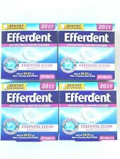 4x Efferdent Anti-Bacterial Denture Cleaner Essential Clean 20 ct Tablets NEW