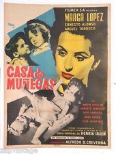 Vtg Mexican Movie Poster - 1954 Casa De Munecas (Marga Lopez) Art By Josep Renau