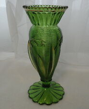 """VINTAGE Antique EAPG Pattern Glass 6 1/8"""" LILY OF THE VALLEY Green & Gold VASE"""