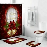 Christmas Bathroom Decorations Set Toilet Cover Xmas Mat Curtain Carpet Shower