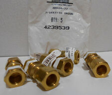 """Lot of 5 Brass 7/16"""" X 7/16"""" Compression Union Fittings"""