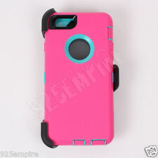 For iPhone 6 Plus Pink/Teal Case Cover (Clip fits Otterbox Defender)