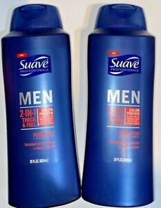 2 Suave MEN 2in1 Shampoo & Conditioner Thick & Full Salon Proven 28 FL OZ