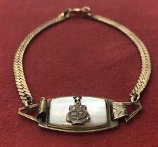 """Vintage Sterling Silver Bracelet 925 lgb Signed Gold Tone Pearl Crest 7"""""""