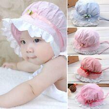 Cute Baby Girls Flower Striped Lace Cotton Summer Sun Hat Cap Bonnet 3-24 Months