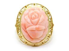 Vintage 14k Yellow Gold Carved Pink Coral Flower Cameo Ring Size 8