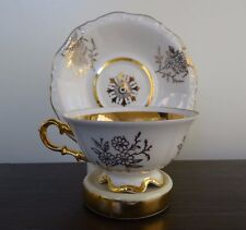 Bavaria Germany Waldershof Tea Cup Saucer Ivory Gold