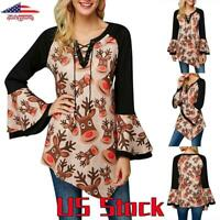 Women Elk Printed Blouse Bell Sleeve Christmas Asymmetric Tops T-Shirt Party US