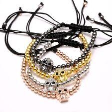 Gold Zirkonia Totenkopf Perlen Armreif Kristall Schädel Damen Herren Armband