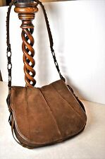 VINTAGE YSL Boho Hand Bag Beautiful Large Brown Suede Purse