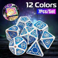 7Pcs/Set Klassisch Metall Polyhedral Würfel Dad RPG Rollenspiel Toys Spiel Zin