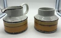 MCM Midwinter Pottery Stonehenge Sun Stoneware Creamer & Sugar Bowl Set England