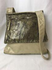 PINKY 1980's Vtg Leather Purse Bag Gold Faux Snake Skin Metallic Retro, Shoulder