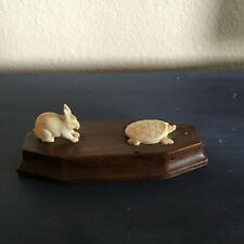 VINTAGE HAND CARVED RABBIT AND TURTLE ON WOOD