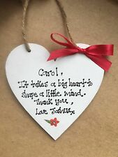 Handmade Personalised Wooden Thank You Teacher Plaque/Sign Gift Big Hearts