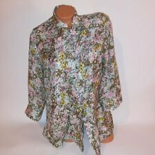 Coldwater Creek Blouse Womens Large 14 Button Down Green Pink Floral 3/4 Sleeve