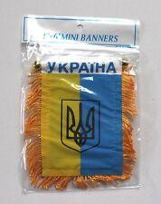 Ukraine Ukrainian National Flag Banner Coat of Arms Car Truck Window Tryzub