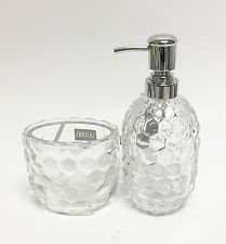 New Croscill 2 Pc Clear 3D Glass Bees Hive,Pineapple Shape Soap Dispenser+Toothb