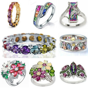 Charm 925 Silver Rings for Women Cubic Zirconia Wedding Jewelry Gifts Size 6-10
