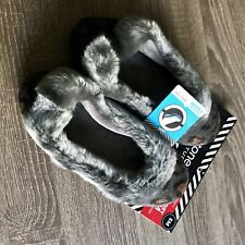 ISOTONER~Women's Small (5-6) Grey Faux Fur & Velour Memory Foam Bootie Slippers