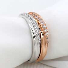 Simple Cubic Zirconia Wedding Rings Rose Gold Color Jewelry For Women ONE