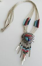 Liquid sterling silver chain heart pendant dangles coral lapis turquoise Navajo