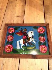 Large Vintage Glass Painting Of St George And The Dragon In Wooden Frame