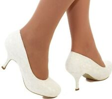 Ladies Ivory Satin & Floral Lace Med Heel Wedding Bridal Court Shoes Size 3- 8