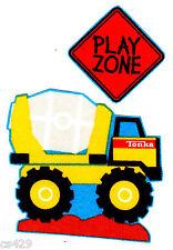"3"" Tonka truck bulldozer cement mixer dump truck fabric applique iron on"