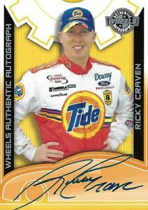 RICKY CRAVEN TIDE WHEELS AUTHENTIC AUTOGRAPHED  PACK PULLED INSERT CARD