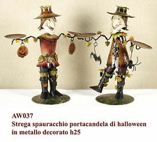 Strega spaventapasseri di halloween portacandela in metallo decorato h25