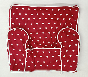 Pottery Barn KIDS Anywhere Chair Slipcover~REGULAR~Red w/Hearts & Piping~NO MONO