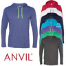 Anvil MEN'S LIGHTWEIGHT HOODED T-SHIRT LONG SLEEVE SUMMER JUMPER NEON COLOURS