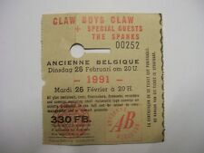 CLAW BOYS CLAW (+THE SPANKS) Concert Ticket 26 Feb 1991 Ancienne Belgique RARE!