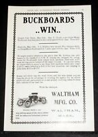 1903 OLD MAGAZINE PRINT AD, WALTHAM MFG CO, THE ORIENT MOTOR BUCKBOARDS WIN!