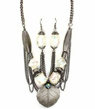 Hematite Chains Center Metal Leaf  AB Chunky Beads Necklace Set Fashion Jewelry