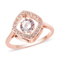14K Rose Gold Over 925 Sterling Silver Cubic Zirconia CZ Halo Ring Size 5 Ct 1.2