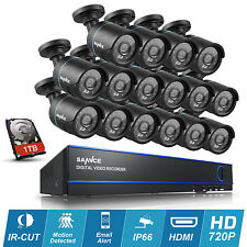 SANNCE 16Channel H.264 DVR System 16X720P Night Vision Outdoor CCTV Camera 1TB