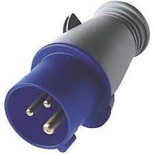 Connettore di alimentazione IEC 60309 BLUE COMMANDO Maschio 3 Pin Spina 16A 16 amp 240v