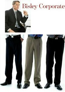 BISLEY MENS DRESS TROUSERS  - Navy or Black or Taupe