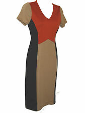 EX CUPCAKE - VERY SMART BLACK/CORAL GOLD FITTED WORK/DAY DRESS - SIZES 6 - 10