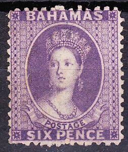 Bahamas 1862-77 WMK CROWN CC QV 6d PERF 12½ VIOLET(ANILINE) SG32 UNUSED