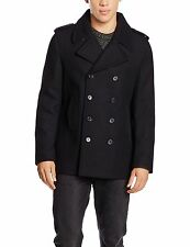New Look Men's Wool Peacoat Coat Black (Navy Pea Coat) Medium