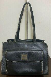 Dooney & Bourke Black Leather Front Flap Tote Shoulder Carry-all Purse Bag