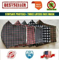 COLORFUL Reusable Washable Breathable Three Layer Cotton Face Mask (Caro 5 PC)