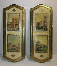 Vintage Italian Florentine TOLEWARE Wood Wall Plaques VENICE CANAL SCENES