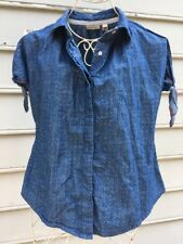 ANTHROPOLOGIE  Split Chambray Top Holding Horses Sz 2~Denim
