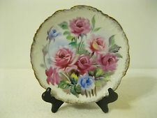 "Handpainted Pink & Blue Roses 8 1/2"" Diameter China Plate Wall Hanging/Display"