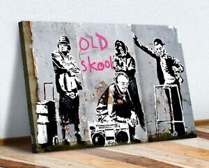 BANKSY DJ OLD SKOOL SCHOOL CANVAS WALL ART PICTURE PRINT ARTWORK GRAFFITI