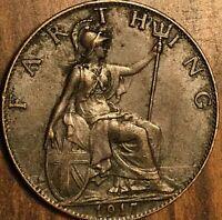 1917 UK GB GREAT BRITAIN ONE FARTHING